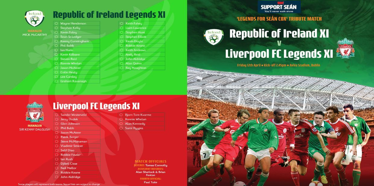 Ireland Legends take on Liverpool Legends in Dublin