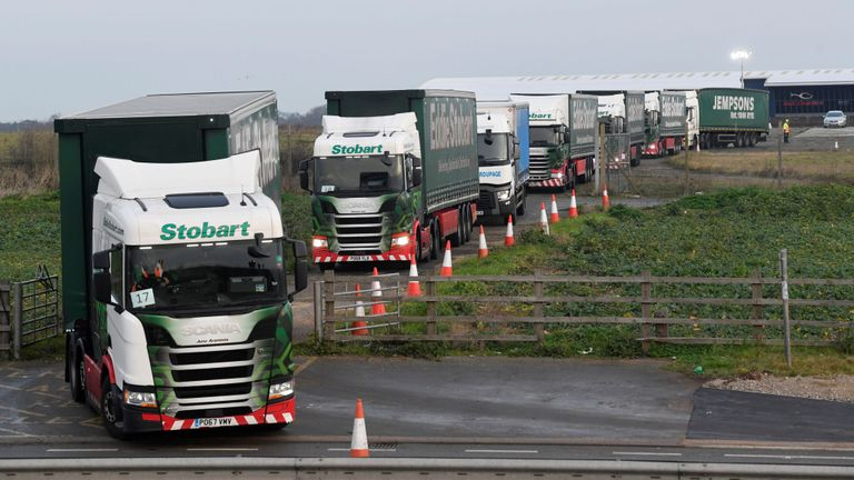 Lorries queue outside Manston Airport