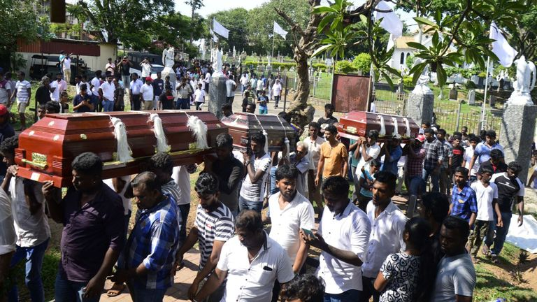 Funeral procession for those victims who died in Sunday's attack