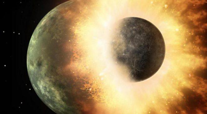 Ancient lunar collision explains the moon's two faces