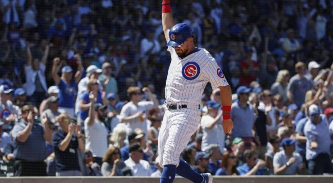Watch: Cubs' Kyle Schwarber mashes 449-foot leadoff shot onto street behind Wrigley Field