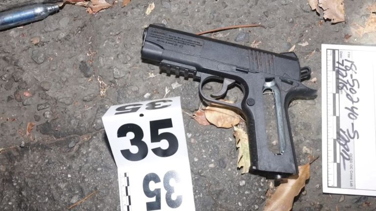 Officers thought the suspect had a handgun - it turned out to be an air pistol