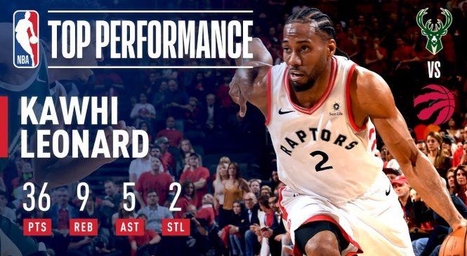 Toronto Raptors' Kawhi Leonard scores 36 despite apparent leg injury