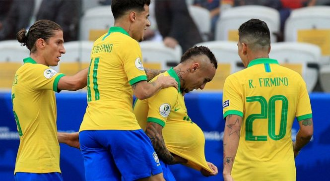 Peru 0-5 Brazil: Hosts top Copa America group with resounding victory as Roberto Firmino bags 'no look' goal