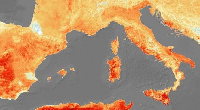 Satellite image shows temperatures soaring across Europe