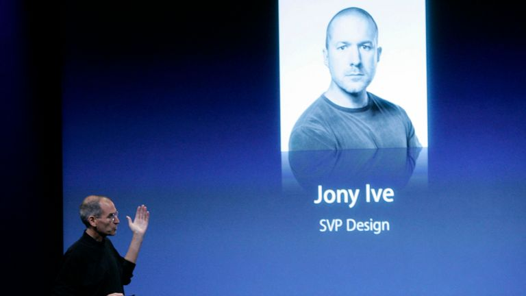 In this Oct. 14, 2008 photo shows Apple CEO Steve Jobs talking about Jonathan Ive, Apple senior vice president of Industrial Design, at a meeting in Cupertino, Calif.  (AP Photo/Paul Sakuma)