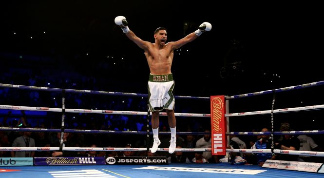 Amir Khan vs Billy Dib RESULT: Brit blows smaller man away with fourth-round knockout, calls out Manny Pacquiao