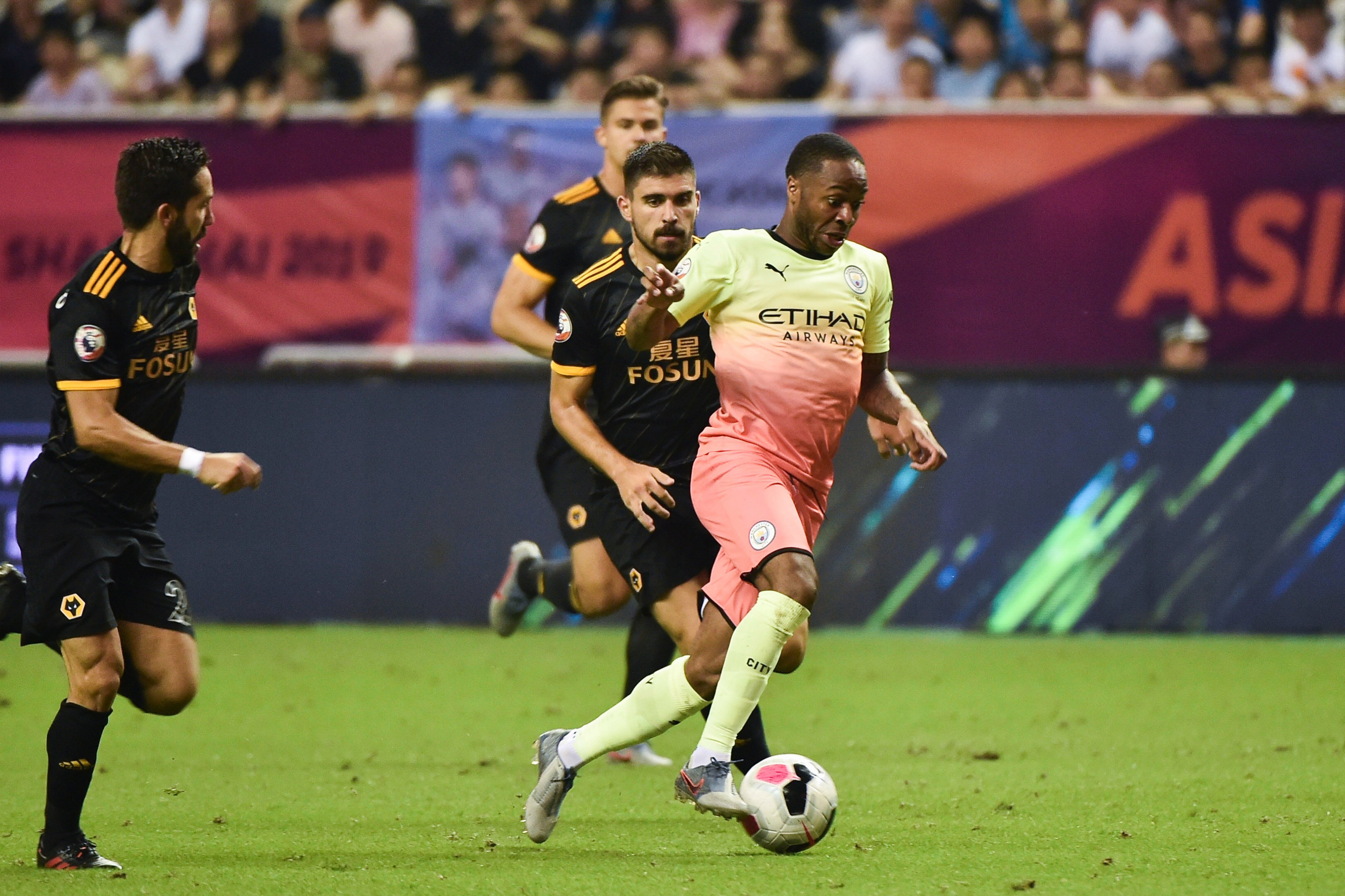 Raheem Sterling in action for Man City during pre-season