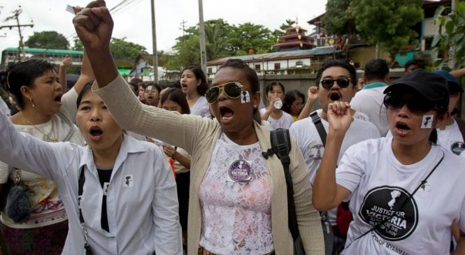 Protesters in Myanmar demand justice after 2-year-old raped