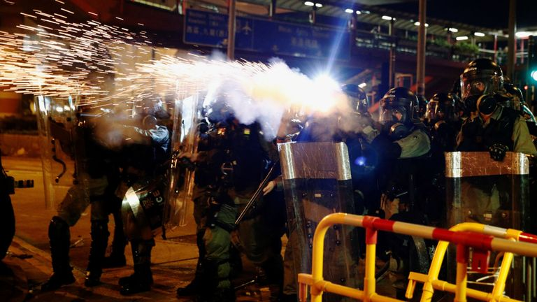 Police with riot shields suddenly 'sprinted' at the crowd, says Sky's Tom Cheshire