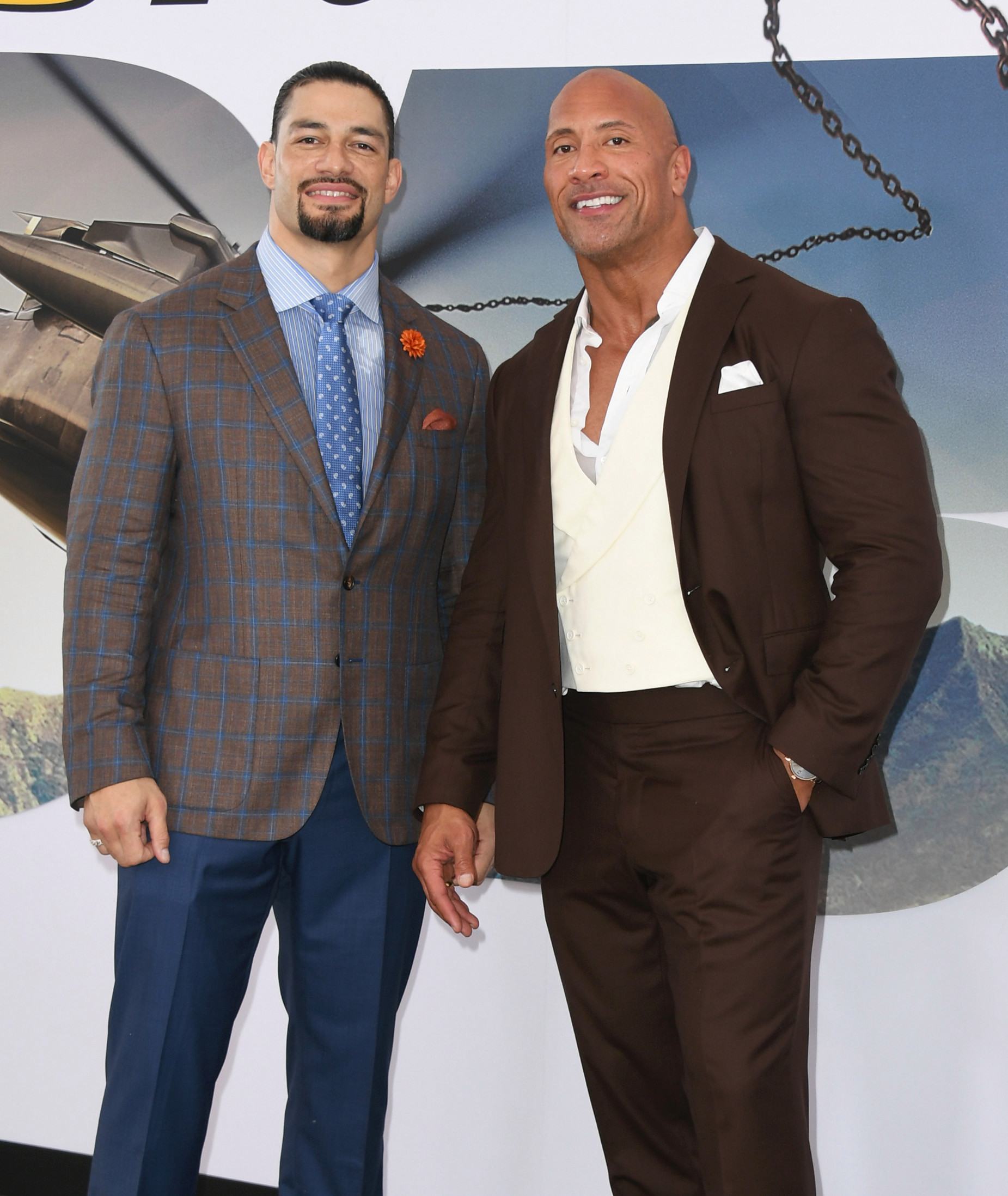 Roman Reigns (left) made his film debut in Fast & Furious Presents: Hobbs & Shaw