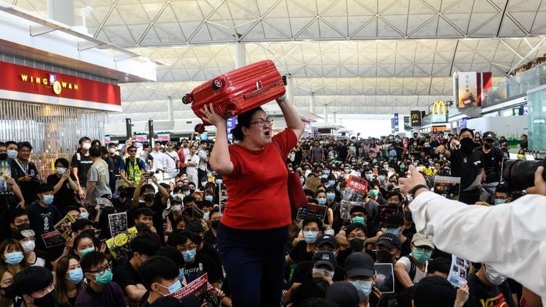 The sit-in made it virtually impossible for people to check-in and move around the departure area