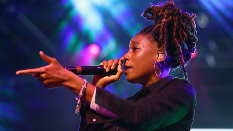 Little Simz performs at Gobi Tent during the 2019 Coachella Valley Music And Arts Festival on April 13, 2019 in Indio, California.