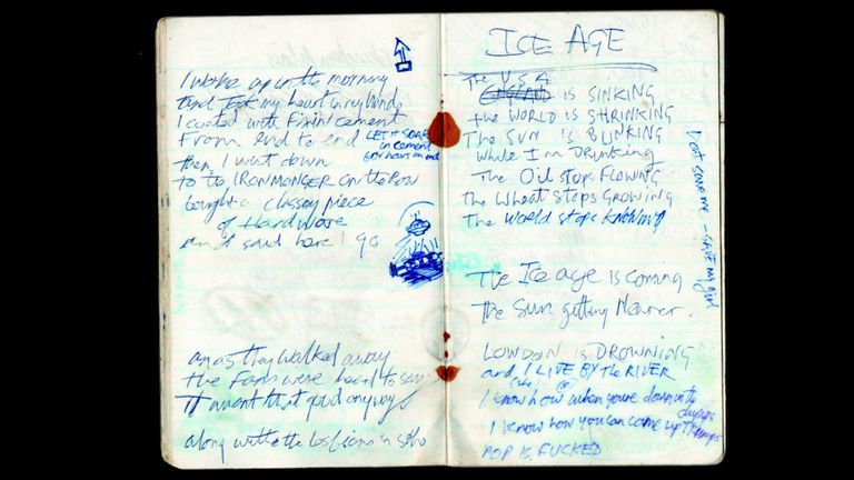 The Clash Joe Strummer's notebook from 1979, the period when the album London Calling was rehearsed and recorded. Open at page showing Ice Age, which was to become lyrics for the song London Calling. Part of The Clash: London Calling exhibition at the Museum Of London from November 15 2019