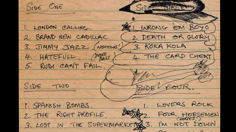 Handwritten list of songs for the four sides of the double album London Calling by The Clash, written by Mick Jones. Part of The Clash: London Calling exhibition at the Museum of London
