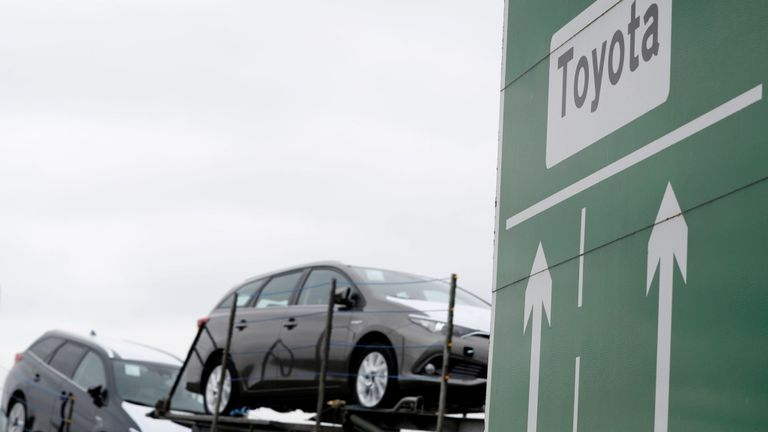 Toyota cars are transported from their manufacturing facility in Burnaston