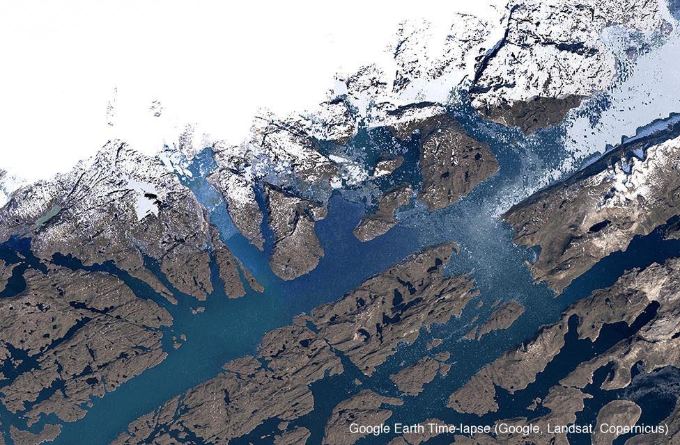 Satellite image of Qaleraliq glacier, Greenland in 1993