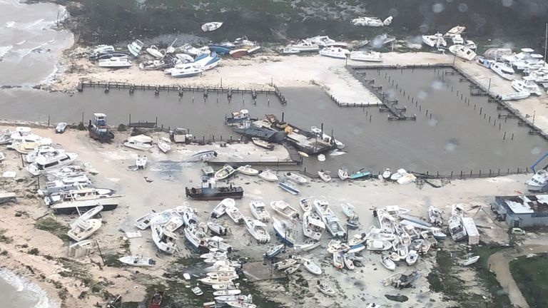 An aerial photo shows the aftermath of the Hurricane Dorian damage over an unspecified location in the Bahamas