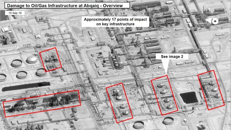 A satellite image showing damage to oil/gas Saudi Aramco infrastructure at Abqaiq, in Saudi Arabia