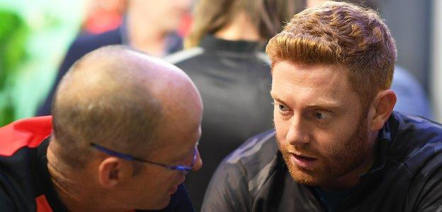 England's Jonny Bairstow, who will play for Welsh Fire, consults with his head coach Gary Kirsten during the draft