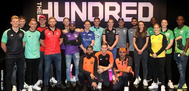 Dozens of cricketers line up for a photo at The Hundred Draft