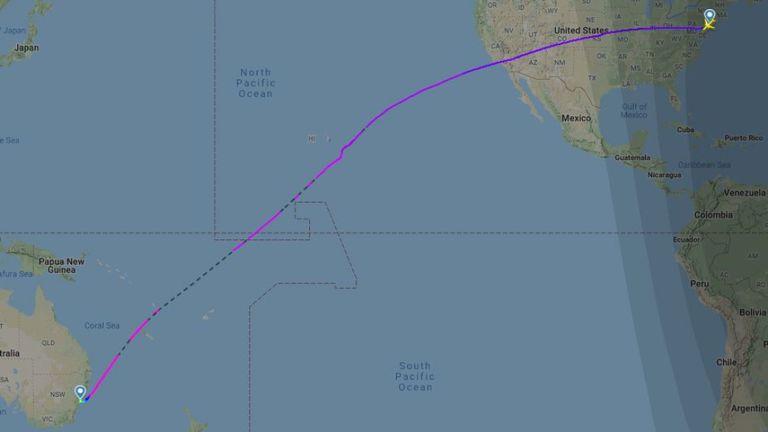 The flight path of the world's longest direct flight. Pic: Flight Radar