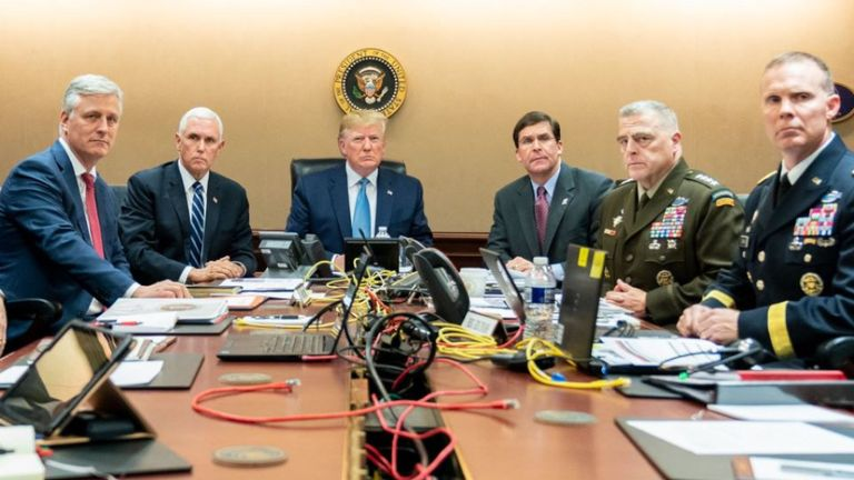 Donald Trump with VP Mike Pence, National Security Advisor Robert O'Brien, left; Secretary of Defence Mark Esper and Chairman of the Joint Chiefs of Staff US Army General Mark A. Milley, and Brig. Gen. Marcus Evans