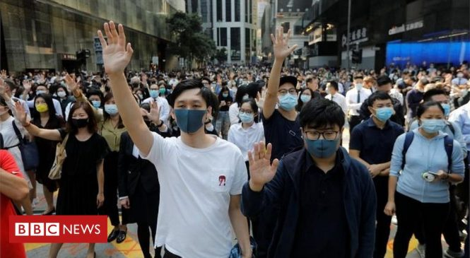 Hong Kong in first recession for a decade amid protests