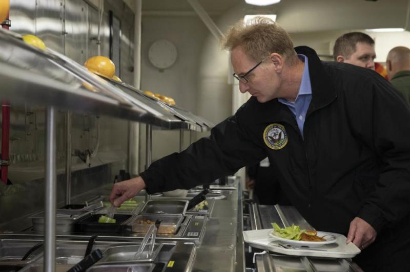 Acting Navy Secretary Thomas B. Modly visits Ford crew in first fleet visit