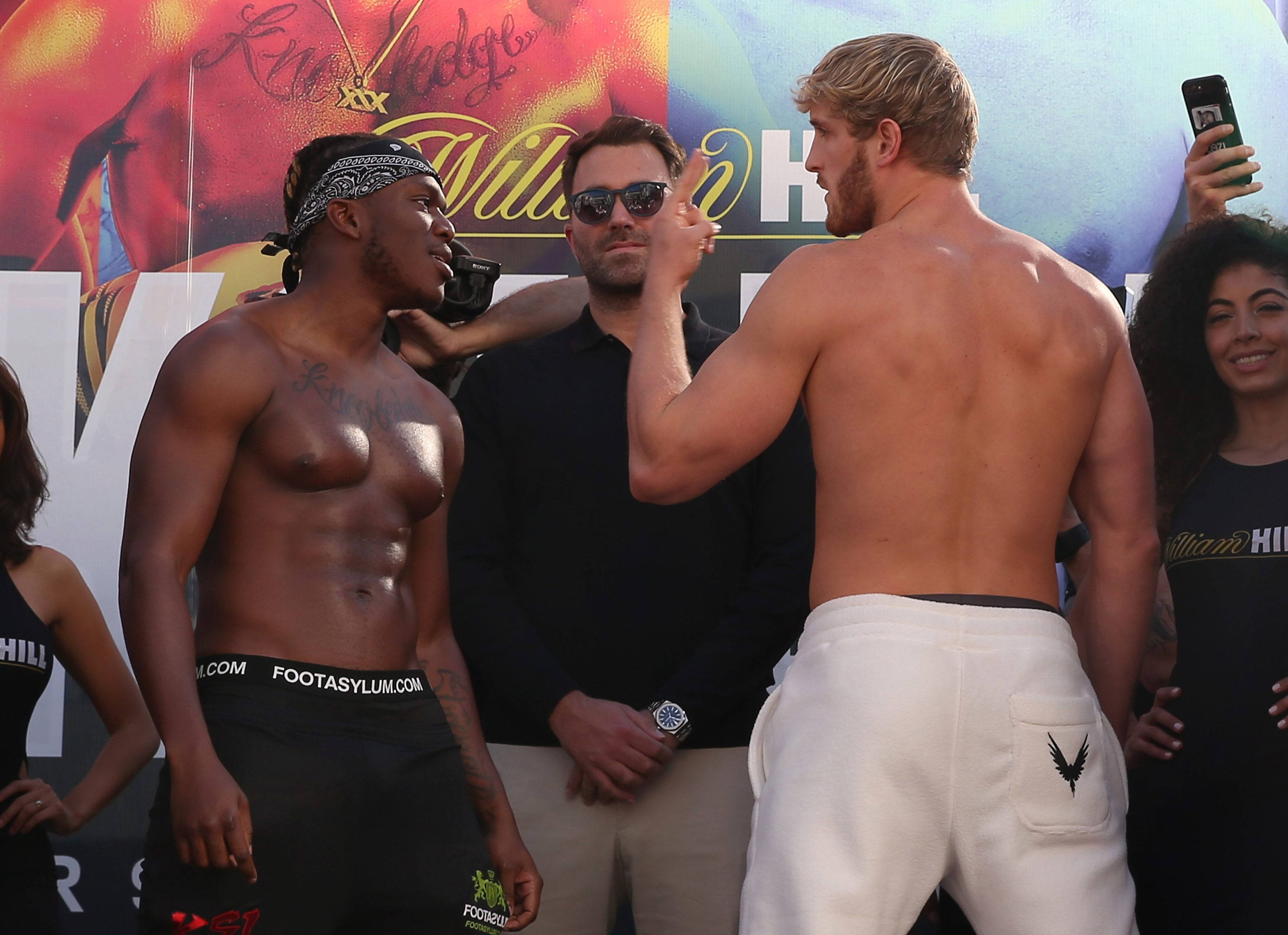 KSI vs Logan Paul 2: Weigh-in descends into chaos as trainers Shannon Briggs and Viddal Riley clash ahead of YouTube fight