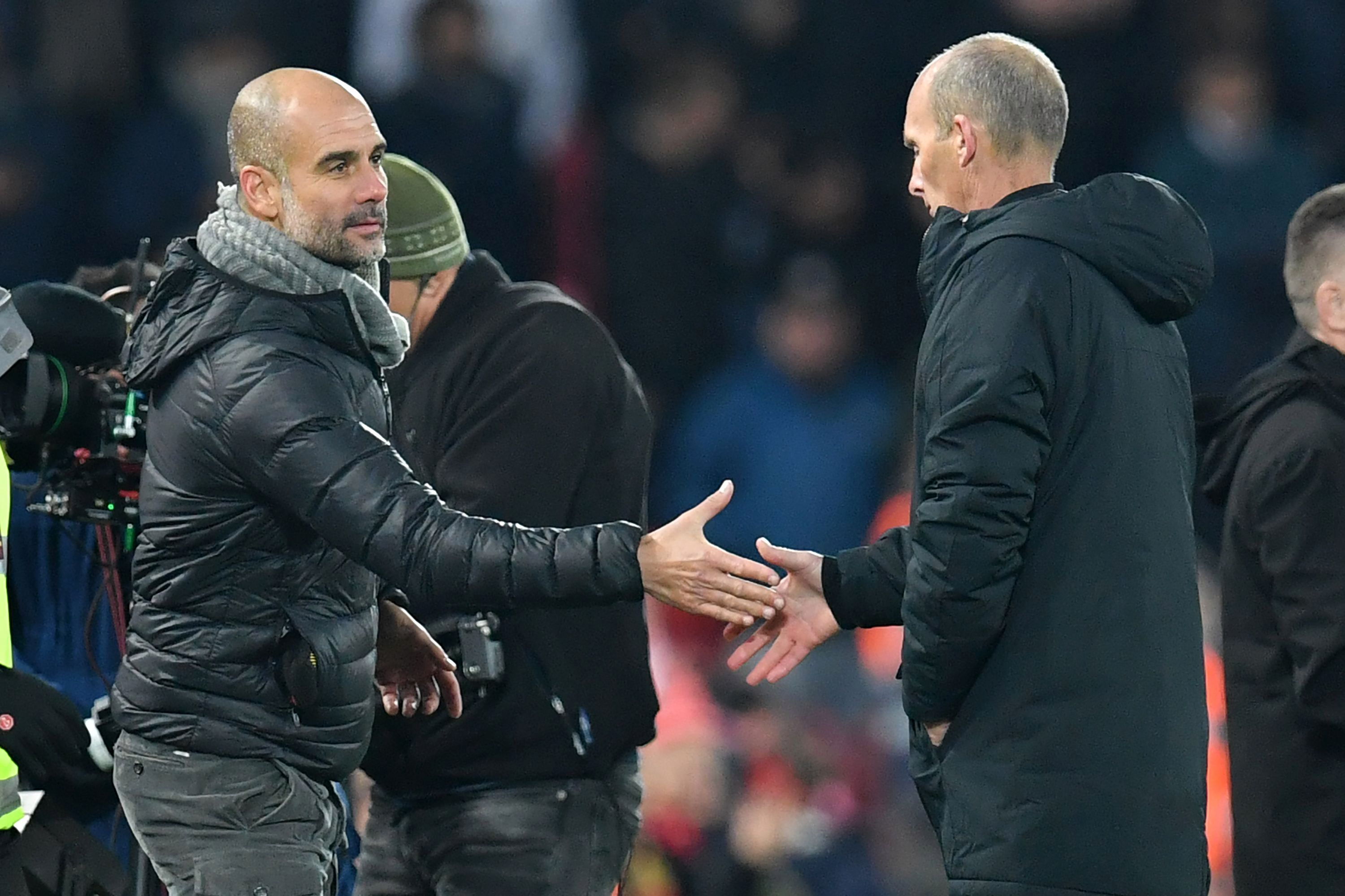 Guardiola also shook the hand of fourth official Mike Dean at Anfield