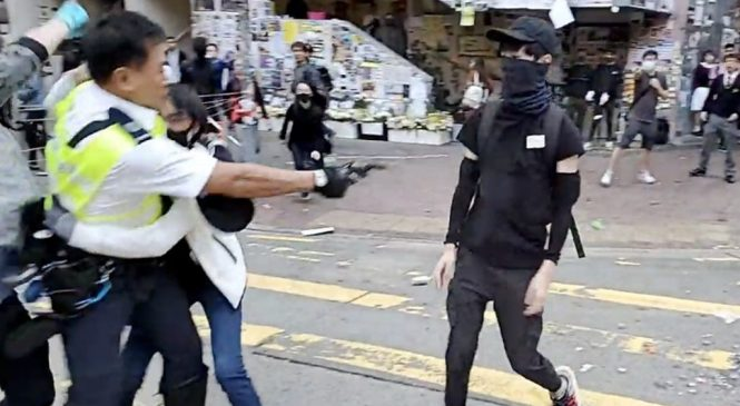 Hong Kong protests: Two 'critical' after day of chaos