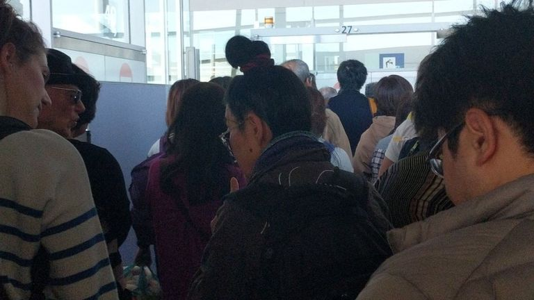 Passengers are stuck at Osaka in Japan after their flight was cancelled. Pic: Madeleine Leathley
