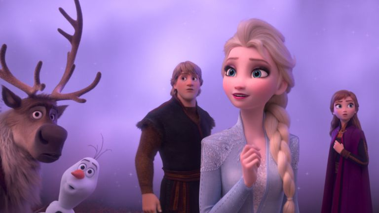 Frozen 2, Elsa, Anna, Kristoff, Olaf and Sven journey far beyond the gates of Arendelle in search of answers. Featuring the voices of Idina Menzel, Kristen Bell, Jonathan Groff and Josh Gad, ...Frozen 2... opens in U.S. theaters November 22. .. Pic: ©2019 Disney