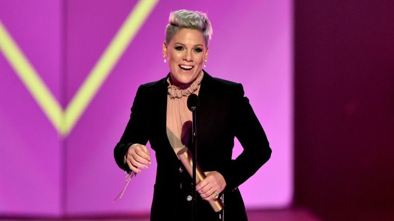 Pink accepts People's Champion of 2019 award on stage during the 2019 E! People's Choice Awards held at the Barker Hangar on November 10, 2019. Pic: E! Entertainment