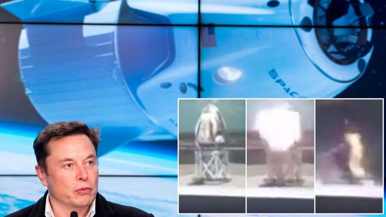 SpaceX's Dragon capsule appeared to explode in a video. Pic: @Astronut099