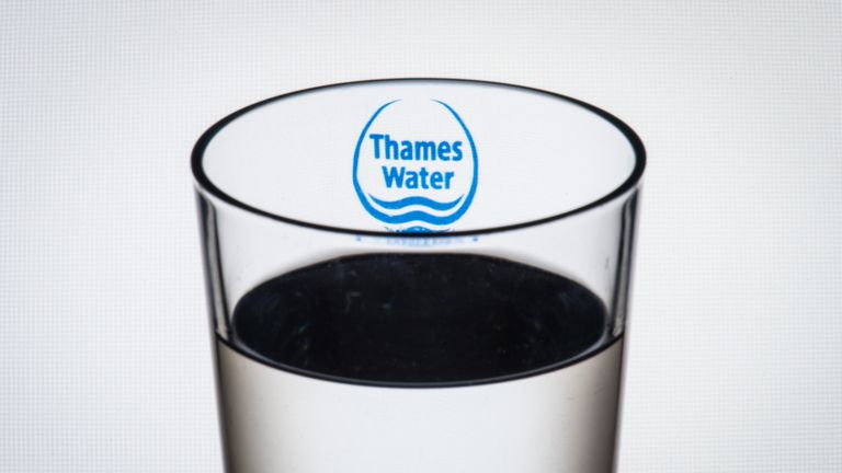 """File photo dated 2/8/2016 of the logo of water company Thames Water seen through a glass of water. Utilities regulator Ofwat has warned four water companies that it has """"substantial concerns"""" over their business plans for the next five years."""