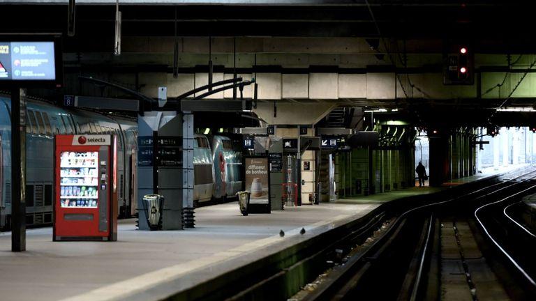A deserted Montparnasse railway station in Paris