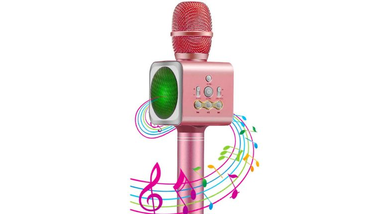 Karaoke microphone allows people to send recorded messages to the device through Bluetooth