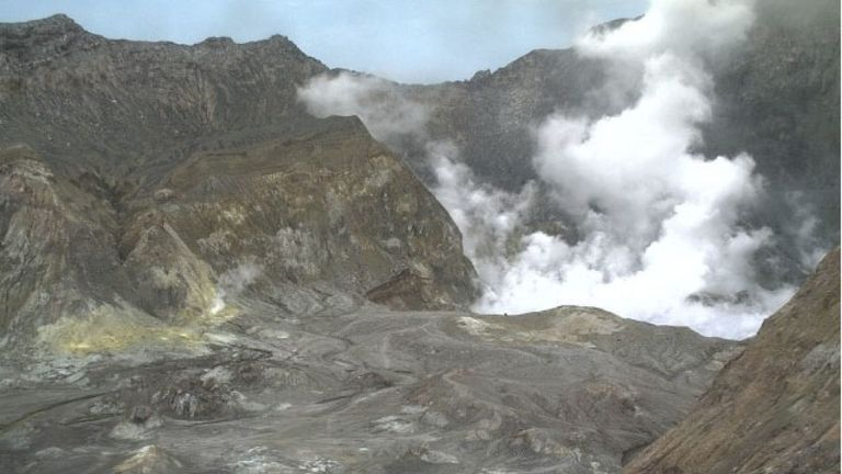 Volcano on White Island in New Zealand erupts. Pic: GeoNet