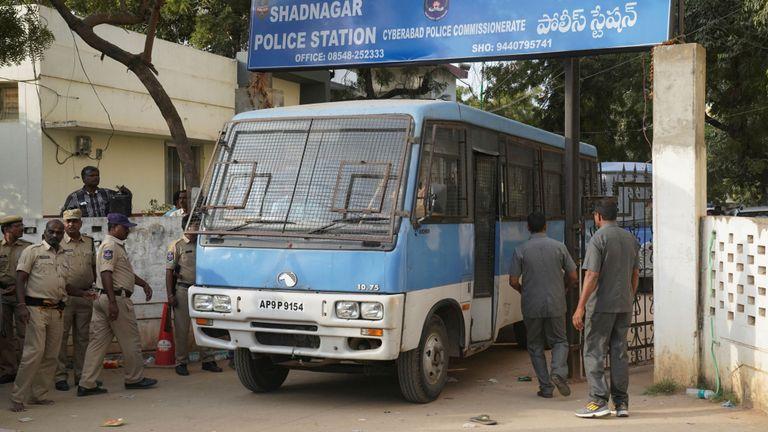 Rape and murder suspects in police van