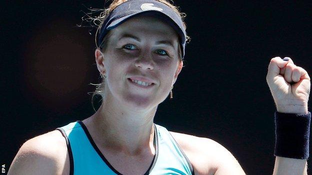 Anastasia Pavlyuchenkova celebrates beating Karolina Pliskova at the Australian Open