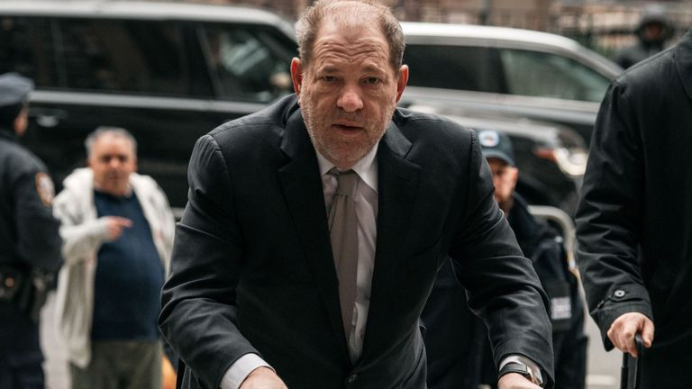 Harvey Weinstein enters New York City Criminal Court on January 13, 2020 in New York City