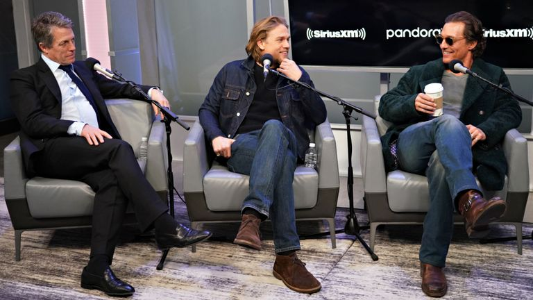 The Gentlemen stars Hugh Grant, Charlie Hunnam and Matthew McConaughey interview with Andy Cohen on his SiriusXM Channel Radio Andy at the SiriusXM Studios on January 13, 2020 in New York City