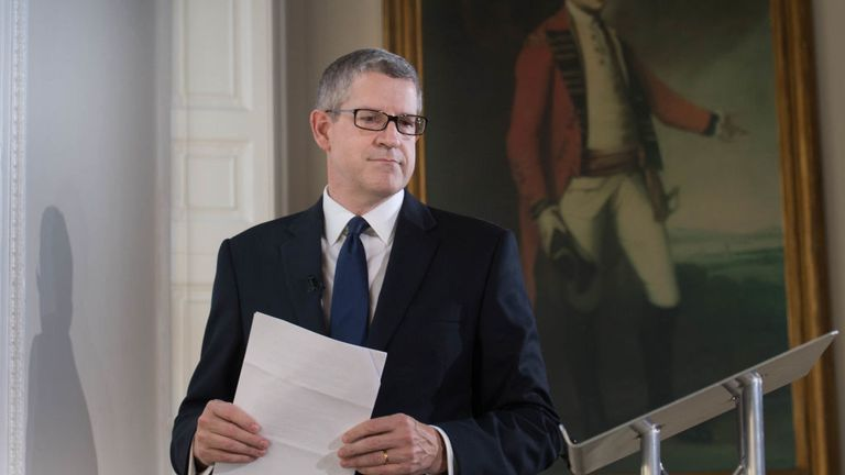 LONDON, ENGLAND - OCTOBER 17: Director General of MI5 Andrew Parker delivers a speech on the security threat facing Britain on October 17, 2017 in London, England. (Photo by Stefan Rousseau - WPA Pool/Getty Images)
