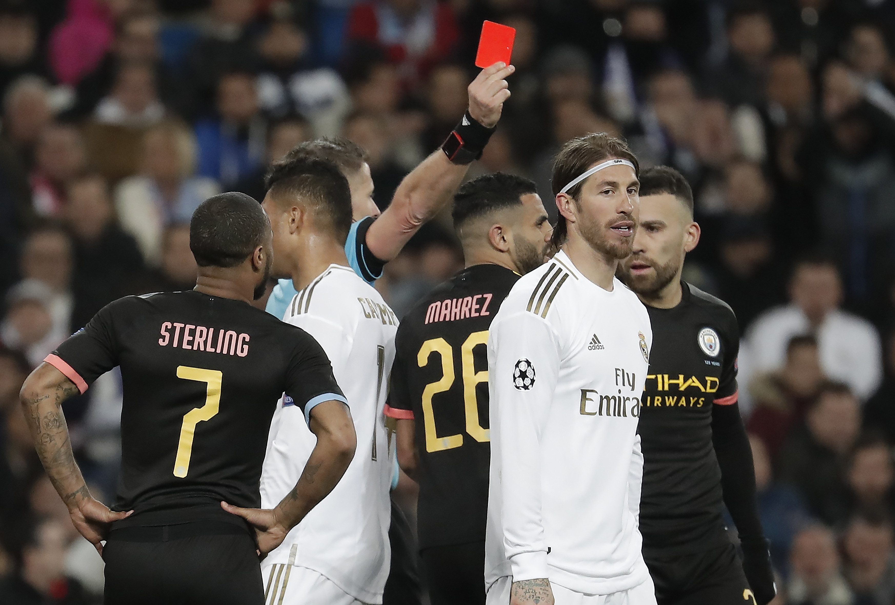 Sergio Ramos was sent off – again – during Real Madrid's Champions League defeat to Man City