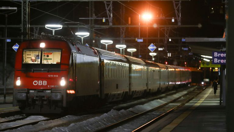 A train stoped by authorities stands on the tracks at the train statin on the Italian side of the Brenner Pass, Italy,