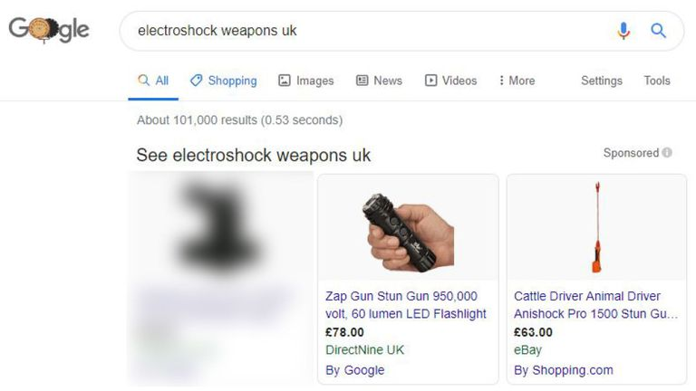 The ads for the illegal weapons appeared in Google Search
