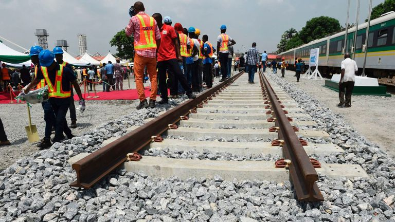 A prototype rail line, to be constructed by China Railway Construction Corporation (CRCC), on the Lagos-Ibadan rail line project at the Ebute-Metta headquarters of the Nigerian Railway Corporation in Lagos on March 7, 2017.