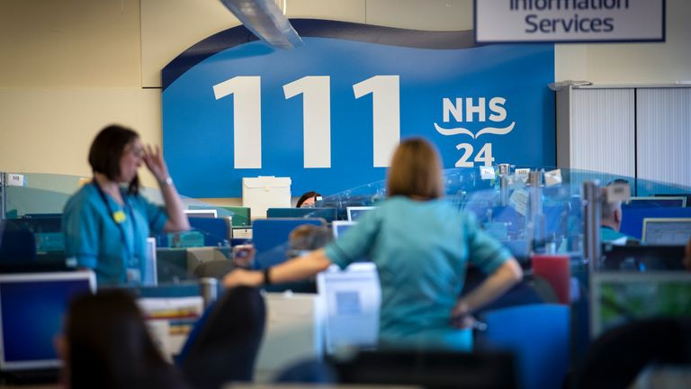 The NHS 24 contact centre at the Golden Jubilee National Hospital in Glasgow which First Minister Nicola Sturgeon visited to meet staff supporting Scotlands public information response to coronavirus (COVID-19).